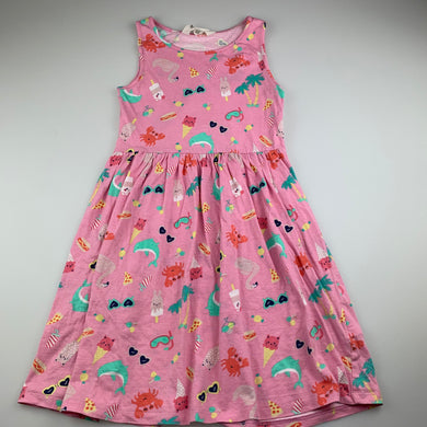 Girls H&M, pink cotton casual summer dress, flamingos, FUC, size 9-10