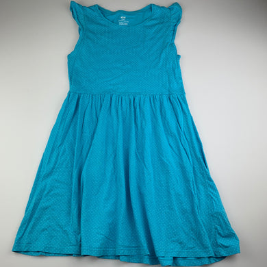 Girls H&M, blue organic cotton casual dress, EUC, size 9-10