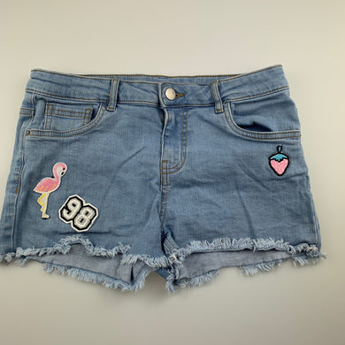 Girls B Collection, blue stretch denim jean shorts, GUC, size 14