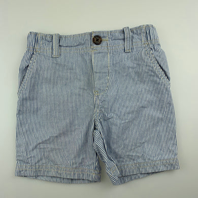 Boys Carter's, blue & white stripe cotton shorts, elasticated, GUC, size 3
