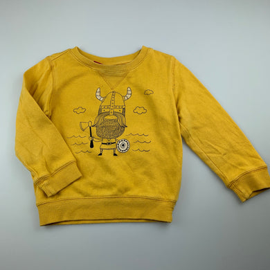 Boys Sprout, yellow cotton sweater / jumper, viking, FUC, size 2