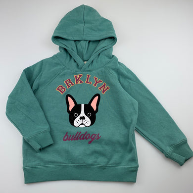 Unisex Cotton On, green fleece lined hoodie / sweater, dog, GUC, size 3