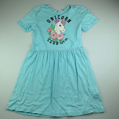 Girls H&M, blue cotton casual dress, unicorn, FUC, size 9-10