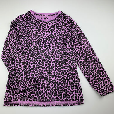 Girls Cotton On, purple cotton leopard print long sleeve top, EUC, size 9-10