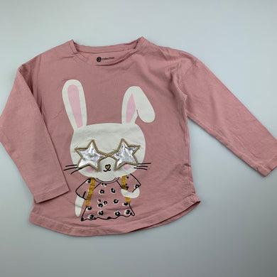 Girls B Collection, pink cotton long sleeve t-shirt / top, rabbit, EUC, size 3