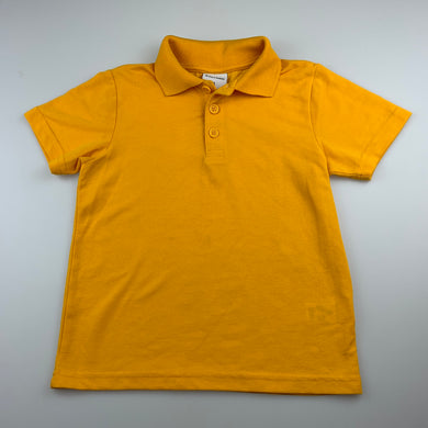 Unisex Brilliant Basics, yellow / gold school polo shirt / top, GUC, size 6