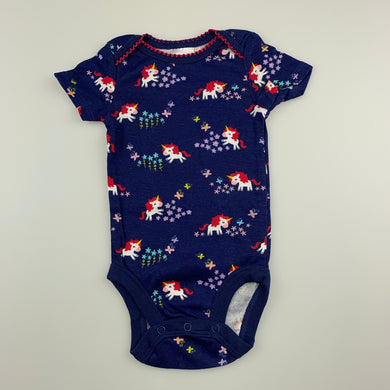 Girls Babies R Us, navy cotton bodysuit / romper, unicorns, EUC, size 0000