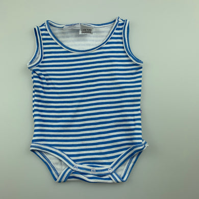 Unisex Babies R Us, blue & white stripe cotton singletsuit / romper, GUC, size 0000