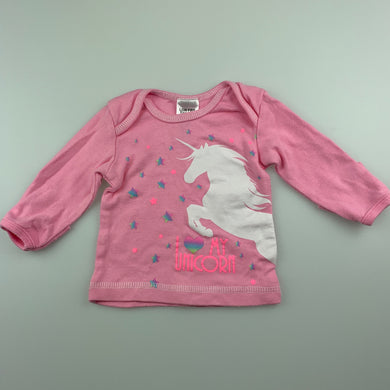 Girls Baby Berry, pink cotton long sleeve t-shirt / top, unicorn, GUC, size 0000