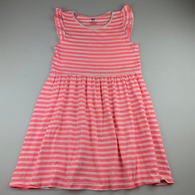 Girls H&M, pink & white stripe casual dress, GUC, size 9-10