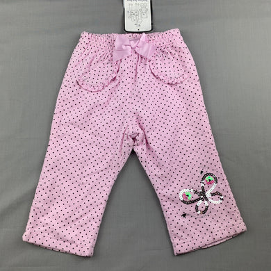 Girls Baby Baby, lined pink cotton corduroy pants, elasticated, NEW, size 0