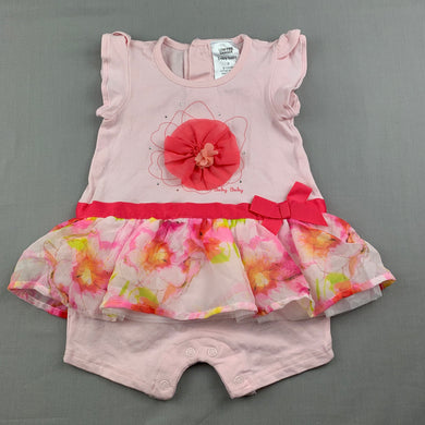 Girls Baby Baby, pink floral tutu romper, EUC, size 0