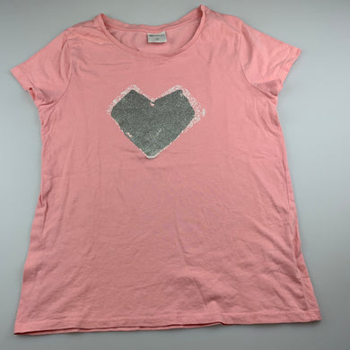 Girls B Collection, pink cotton t-shirt / top, heart, EUC, size 14