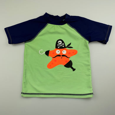 Boys Sprout, short sleeve rashie / swim top, pirate, GUC, size 1