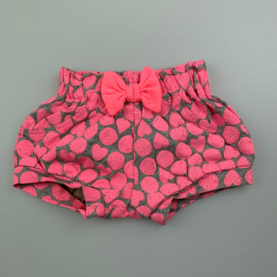 Girls Baby Berry, pink & grey shorts, elasticated, EUC, size 0000