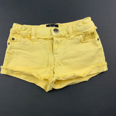 Girls Bardot Junior, yellow stretch denim shorts, adjustable, FUC, size 3