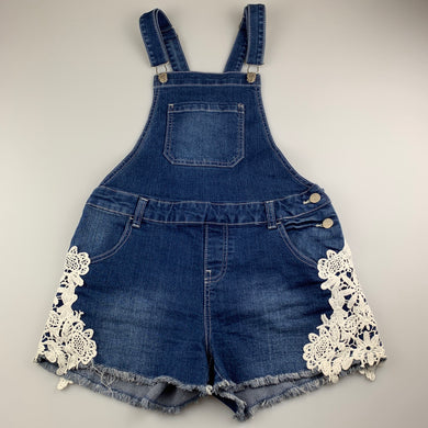 Girls Breakers, stretch denim overalls, lace detail, GUC, size 14