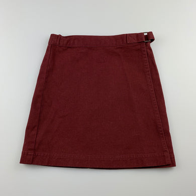 Girls Baby De Mode, maroon cotton wrap-over skirt, EUC, size 3
