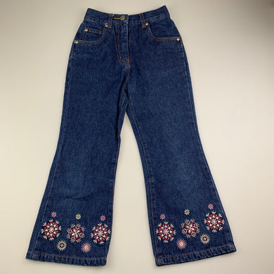 Girls Adams, embroidered blue denim jeans / pants, elasticated, GUC, size 6