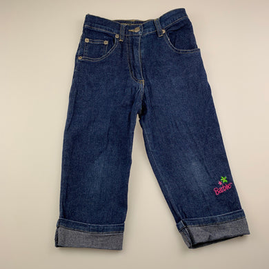 Girls Barbie, cropped stretch denim pants / jeans, elasticated, Inside leg: 30cm, GUC, size 4