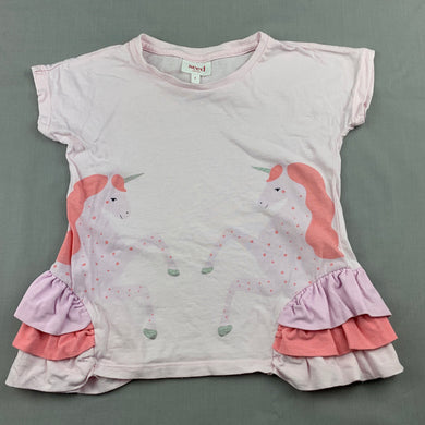 Girls Seed, pink cotton t-shirt / top, unicorns, GUC, size 4