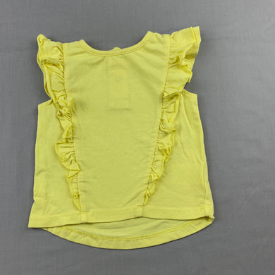 Girls 4Baby, yellow ruffle t-shirt / top, GUC, size 00