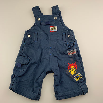 Boys Baby Baby, lined blue cotton overalls / dungarees, GUC, size 000