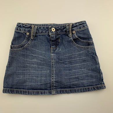 Girls Seed, blue stretch denim skirt, adjustable, L: 26cm, GUC, size 6-7