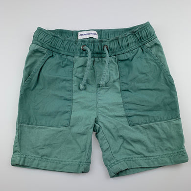 Boys Country Road, green cotton shorts, elasticated, GUC, size 4