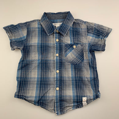 Boys Pumpkin Patch, blue check lightweight cotton short sleeve shirt, GUC, size 2
