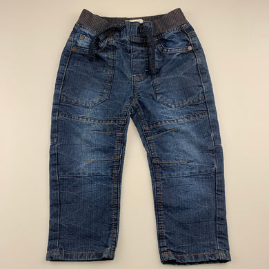 Boys Pumpkin Patch, blue denim pants / jeans, adjustable, Inside leg: 30cm, GUC, size 2