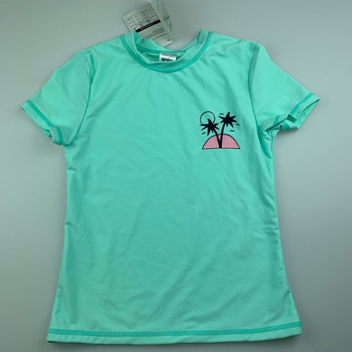 Girls Anko, aqua short sleeve rashie / swim top, NEW, size 7