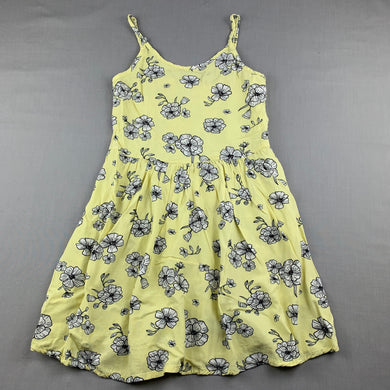 Girls Clothing & Co, floaty lemon floral summer dress, GUC, size 7