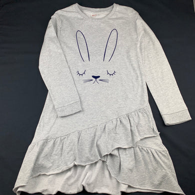 Girls Seed, grey cotton long sleeve casual dress, rabbit, EUC, size 10