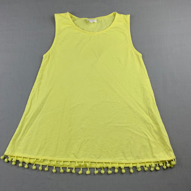 Girls Seed, yellow cotton tank top, pom pom trim, GUC, size 7-8