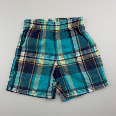 Boys Carter's, checked cotton shorts, elasticated, GUC, size 1-2