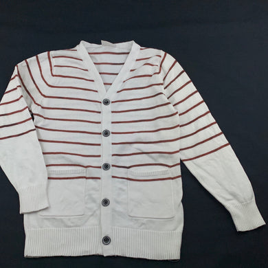 Girls Next, white & brown cotton knitted cardigan, small mark above right pocket, FUC, size 11