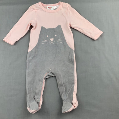 Girls Seed, pink stretchy coverall / romper, cat, GUC, size 0000