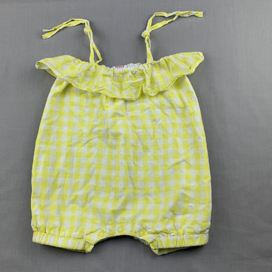 Girls Seed, yellow gingham lightweight cotton romper, GUC, size 00