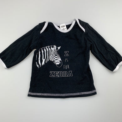 Unisex Baby Berry, black cotton long sleeve top, zebra, GUC, size 0