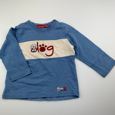 Boys Sprout, blue cotton long sleeve t-shirt / top, FUC, size 2