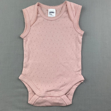 Girls Anko Baby, pink pointelle cotton bodysuit / romper, EUC, size 000
