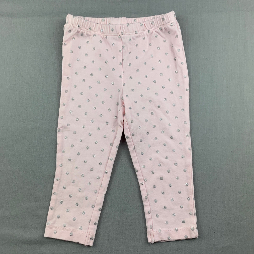 Girls Carter's, pink & silver spot leggings / bottoms, EUC, size 12 months