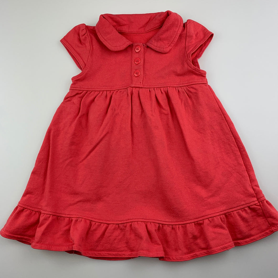Girls Mothercare, coral cotton casual dress, FUC, size 0