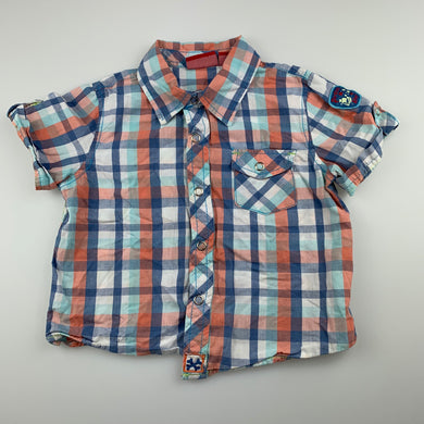 Boys Sprout, checked cotton lightweight short sleeve shirt, FUC, size 1