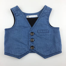 Load image into Gallery viewer, Boys Target, blue chambray cotton wedding / formal vest, GUC, size 000