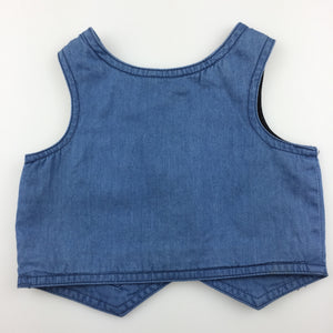 Boys Target, blue chambray cotton wedding / formal vest, GUC, size 000