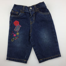 Load image into Gallery viewer, Girls Hundreds + Thousands, embroidered denim jeans, elasticated waist, GUC, size 00