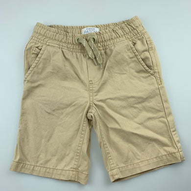 Boys Pumpkin Patch, beige cotton shorts, elasticated, mark front right leg, FUC, size 4