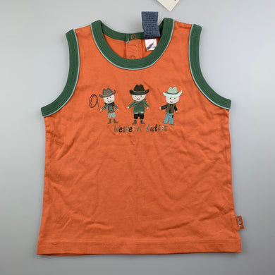 Boys Pumpkin Patch, soft cotton tank top, singlet, cowboys, NEW, size 2